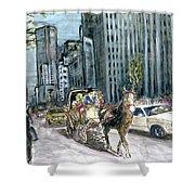 New York 5th Avenue Ride - Fine Art Shower Curtain