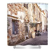 Romantic Chania Street Shower Curtain