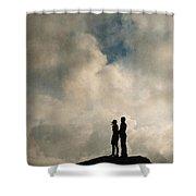 Romantic Couple On A Mountain Peak Shower Curtain