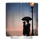 Romantic Couple Under A Street Lamp At Sunset Shower Curtain