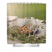 Romantic Garden Table Setting Shower Curtain
