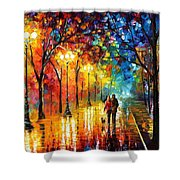 Romantic Stroll - Palette Knlfe Oil Painting On Canvas By Leonid Afremov Shower Curtain