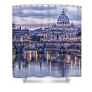 Rome And The River Tiber At Dusk Shower Curtain