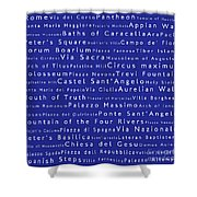 Rome In Words Blue Shower Curtain