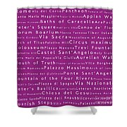 Rome In Words Pink Shower Curtain