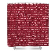 Rome In Words Red Shower Curtain