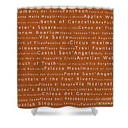 Rome In Words Toffee Shower Curtain