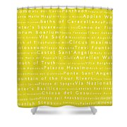 Rome In Words Yellow Shower Curtain