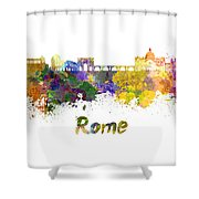 Rome Skyline In Watercolor Shower Curtain