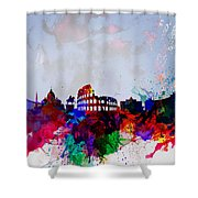 Rome Watercolor Skyline Shower Curtain