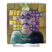 Romeo, 1970 Acrylic & Metal Leaf On Canvas Shower Curtain