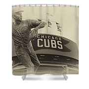 Ron Santo Chicago Cub Statue In Heirloom Finish Shower Curtain