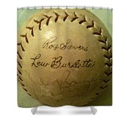 Ron Sievers And Lew Burdette Autograph Baseball Shower Curtain