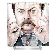 Ron Swanson Mustache Portrait Shower Curtain