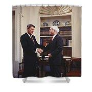 Ronald Reagan And John Mccain Shower Curtain by Carol Highsmith