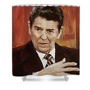 Ronald Reagan Portrait 2 Shower Curtain by Corporate Art Task Force