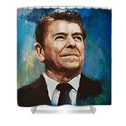 Ronald Reagan Portrait 6 Shower Curtain by Corporate Art Task Force