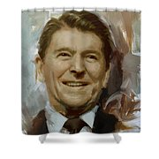 Ronald Reagan Portrait Shower Curtain by Corporate Art Task Force