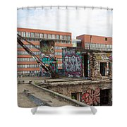Roof Of The Alte Eisfabrik Ruin In Berlin Shower Curtain