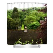 Roof Tops In Countryside Scenery With Trees - Peak District - England Shower Curtain