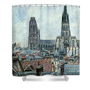 Roofs Of Old Rouen Grey Weather  Shower Curtain