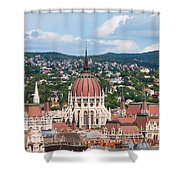 Rooftop Of Parliament Building In Budapest Shower Curtain