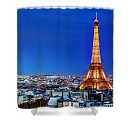 Rooftop View On The Eiffel Tower Shower Curtain