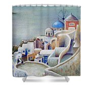 Rooftops And Terraces Of Santorini Island In Greece Shower Curtain