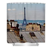 Rooftops Of Paris And Eiffel Tower Shower Curtain