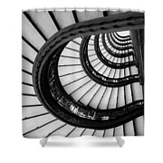 Rookery Building Looking Up The Oriel Staircase - Black And White Shower Curtain