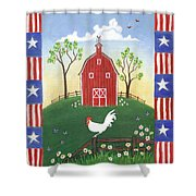 Rooster Americana Shower Curtain by Linda Mears