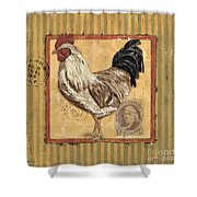 Rooster And Stripes Shower Curtain by Debbie DeWitt