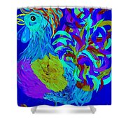Rooster Blues Shower Curtain