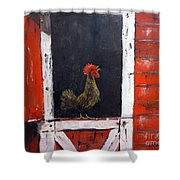 Rooster In Window Shower Curtain
