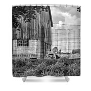 Rooster Turf Monochrome Shower Curtain