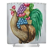 Rooster's Fruit To Go Shower Curtain
