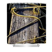 Rope And Wood Sidelight Textures Shower Curtain