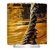 Rope On Liquid Gold Shower Curtain