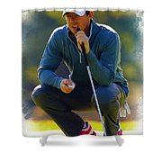 Rory Mcilroy  Lines Up A Birdie Putt  Shower Curtain