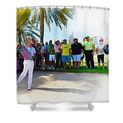 Rory Mcilroy - The Third Round Of The Omega Dubai Desert Classic Shower Curtain