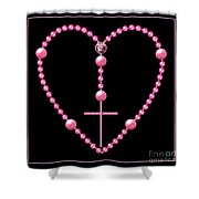 Rosary With Pink And Purple Beads Shower Curtain