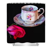 Rose And Tea Cup Shower Curtain