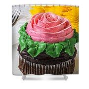 Rose Cupcake Shower Curtain