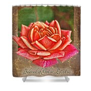 Rose Greeting Card With Verse Shower Curtain