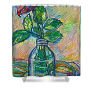Rose In A Bottle Shower Curtain