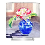Rose In The Blue Vase  Shower Curtain