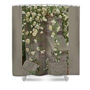 Rose Sprawling On Stone Shower Curtain