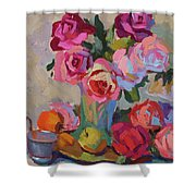 Roses And Apples Shower Curtain