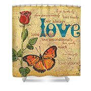 Roses And Butterflies 2 Shower Curtain by Debbie DeWitt