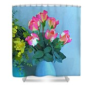 Roses And Flowers In A Vase Shower Curtain